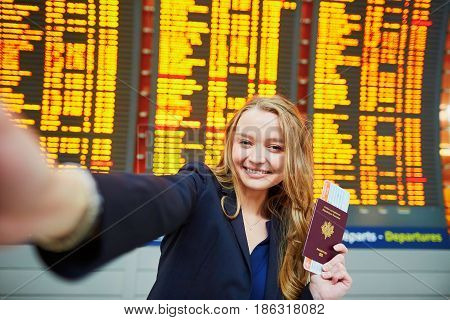 Young Traveler Doing Selfie In The International Airport