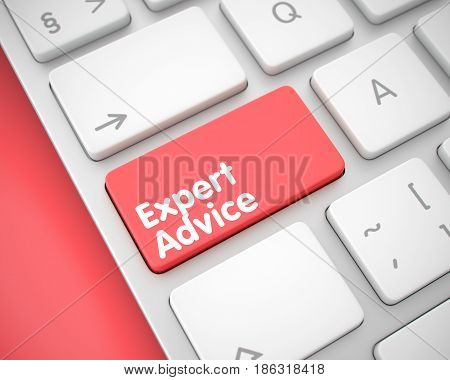 Expert Advice Keypad on the Keyboard Keys. with Red Background. Online Service Concept: Expert Advice on the Modernized Keyboard Background. 3D Illustration.