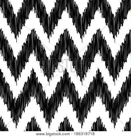 Seamless modern ikat ethnic pattern background. White and black colors. Vector illustration stock vector.