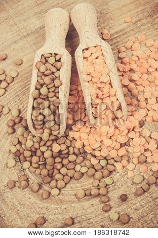 Raw, Red And Green Lentils.