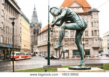One of the statues of the dancing fountain Czech musicians in the city of Prague, the Czech Republic, Europe. Each of the dancing sculptures is a world river. Sculpture with a flute is the Amazon river.