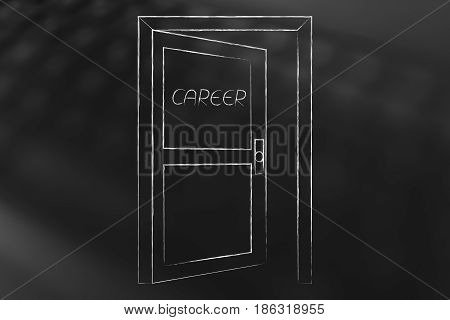 Semi-open Door With Text Career On It