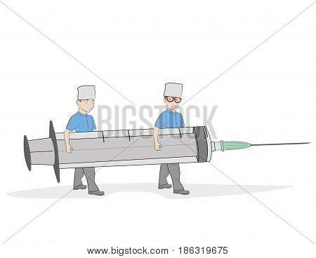 Little people carry a syringe. Plot for medical topics. vector illustration.