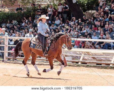 Kiryat Tivon Israel - May 13 2017 : Participants in equestrian competitions perform on a horse farm in the kibutz Alonim near Kiryat Tivon in Israel