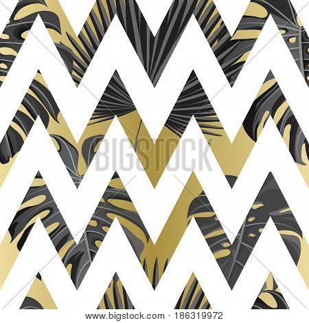 Seamless pattern with gold white grayscale colored tropical exotic palm leaves on abstract geometric zigzag style background. Fabric, wrapping paper print. Vector illustration stock vector.