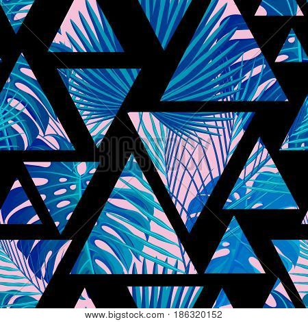 Seamless pattern with neon colored tropical exotic palm leaves on abstract geometric triangular black pink blue style background. Fabric, wrapping paper print. Vector illustration stock vector.