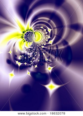 Fractal image depicting an abstract star nursery. poster