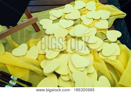 Little Yellow Hearts For The Guests Wishes. Writing Wishing And Congratulation To Bride And Groom. W