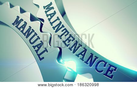 Maintenance Manual on the Metal Cogwheels, Business Illustration with Glowing Light Effect . Maintenance Manual - Illustration with Glow Effect . 3D Render .