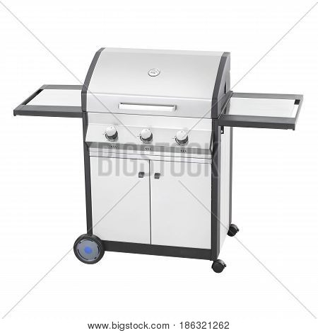 BBQ Grill Isolated on White Background. Stainless Steel Barbecue Gas Grill. Outdoor Cooking Station. Outdoor Grill Table. Clipping Path