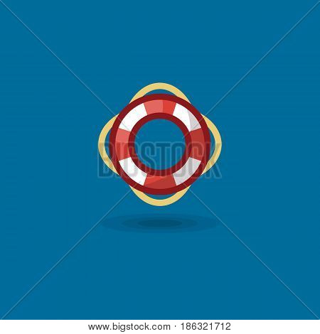 Vector icon life ring. Illustration a marine colored nautical life buoy isolated on blue background