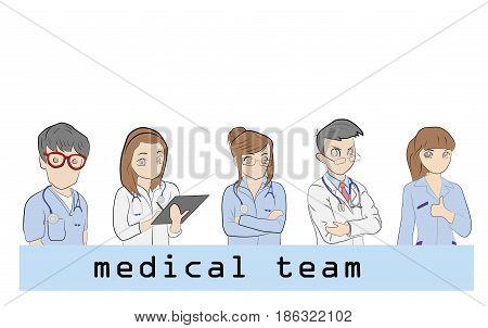 Hospital medical staff Team doctors together. Group of doctors and nurses people character set. vector illustration