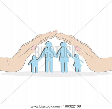 a family standing under a roof of a house build of hands. vector illustration