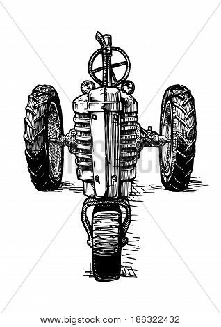 Vector hand drawn illustration of retro three-wheeled tractor in vintage engraved style. isolated on white background. front view.