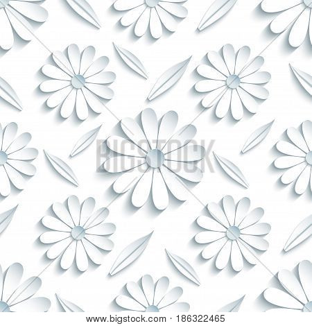 Beautiful modern light background seamless pattern with white 3d flower chamomiles and leaves cutting paper. Floral trendy creative wallpaper. Stylish nature backdrop. Vector illustration