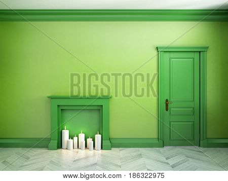 Fire place, door and parquet in classic scandinavian green interior. 3d render illustration.