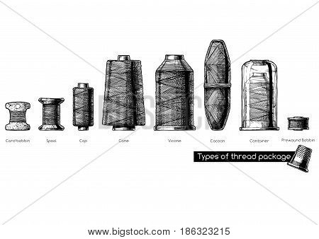 Vector black-and-white hand drawn illustration of sewing thread bobbins types in vintage engraved style. isolated on white background. Side view.