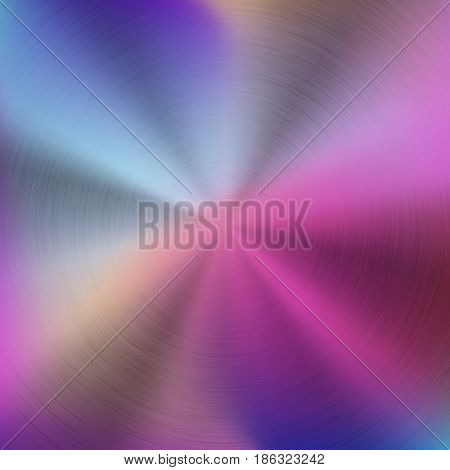 Metal abstract pastel colorful gradient technology background with circular polished, brushed concentric texture, chrome, silver, steel, aluminum for design concepts, wallpapers. Vector illustration.