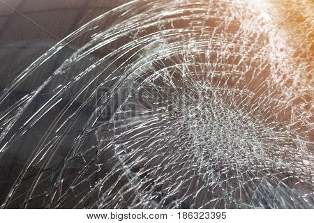 Closeup for Broken car windshield. Accident of car