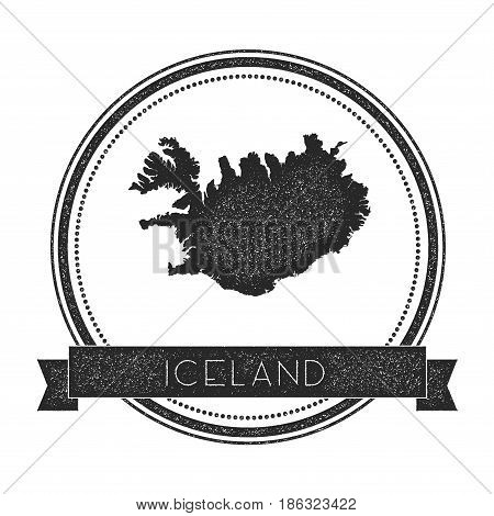 Retro Distressed Iceland Badge With Map. Hipster Round Rubber Stamp With Country Name Banner, Vector