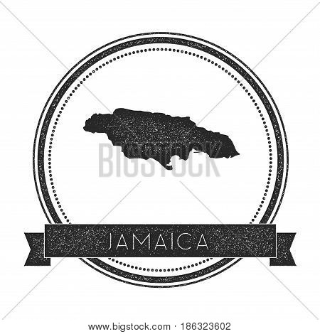Retro Distressed Jamaica Badge With Map. Hipster Round Rubber Stamp With Country Name Banner, Vector