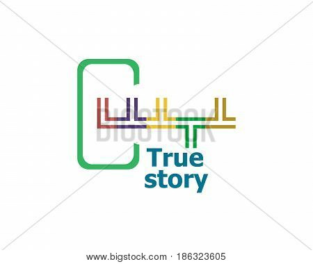 True Story . Modern Abstract Design, Business Icon. Geometric Emblem