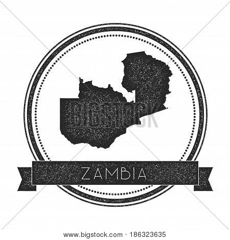 Retro Distressed Zambia Badge With Map. Hipster Round Rubber Stamp With Country Name Banner, Vector