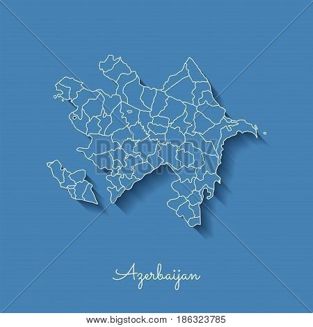 Azerbaijan Region Map: Blue With White Outline And Shadow On Blue Background. Detailed Map Of Azerba