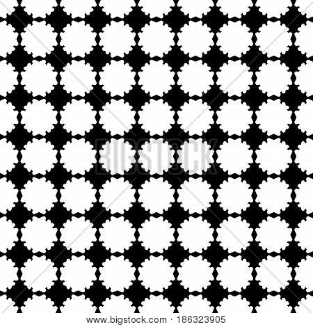 Simple vector monochrome texture, black & white geometric seamless pattern with flat flower silhouettes. Square symmetric illustration. Abstract design element for prints, embossing, decor, clothes, fabric, textile