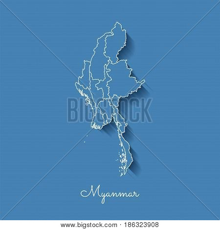 Myanmar Region Map: Blue With White Outline And Shadow On Blue Background. Detailed Map Of Myanmar R