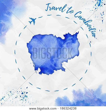 Cambodia Watercolor Map In Blue Colors. Travel To Cambodia Poster With Airplane Trace And Handpainte