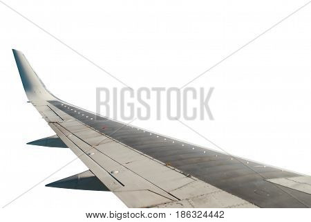 the wing of the aircraft, isolated on white background, template for design and printing