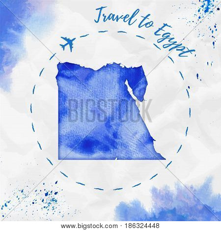 Egypt Watercolor Map In Blue Colors. Travel To Egypt Poster With Airplane Trace And Handpainted Wate