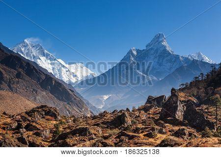 Himalayas Mountain Range In Sagarmatha National Park, Nepal. Ama Dablam And Tamserku Mountains View
