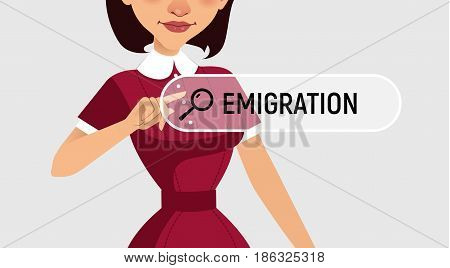 Woman is written EMIGRATION in search bar on virtual screen. Vector illustration