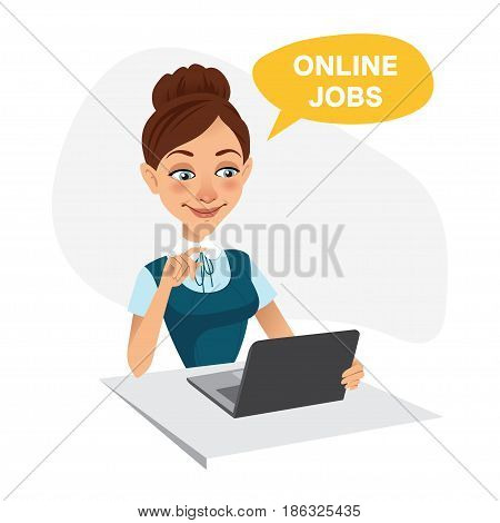 Woman sits at table and looks for job on laptop. Woman uses online recruitment service. ONLINE JOBS concept.