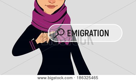 Muslin woman is writing EMIGRATION in search bar on virtual screen. Vector illustration