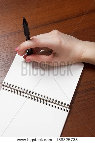 woman hands holding pen down up. book Top View with Copy Space