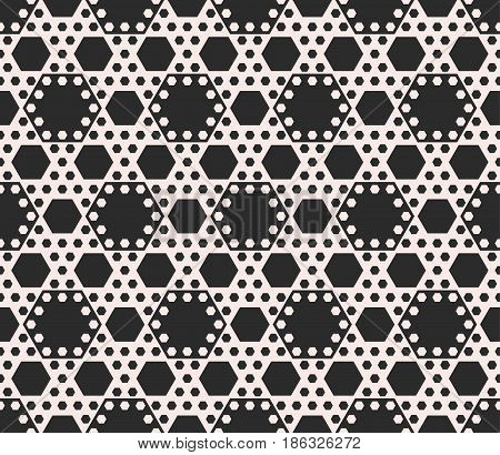 Vector geometric seamless pattern, abstract background with different sized hexagons. Perforated hexagonal structure. Monochrome texture, repeat tiles. Design for decor, fabric, textile, stationery, covers, prints