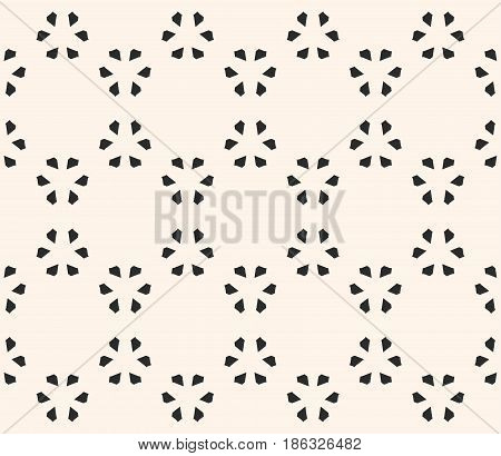 Vector monochrome seamless pattern, subtle geometric texture with small floral figures, flat leafs. Abstract minimalist background. Light stylish design for decor, prints, textile, fabric, furniture, digital, web