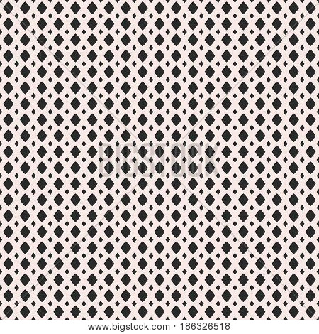 Vector monochrome geometric texture, black & white seamless pattern, simple illustration of mesh, lattice, tissue structure, rhombuses. Abstract repeat background. Design for prints, textile, digital, fabric, furniture, web