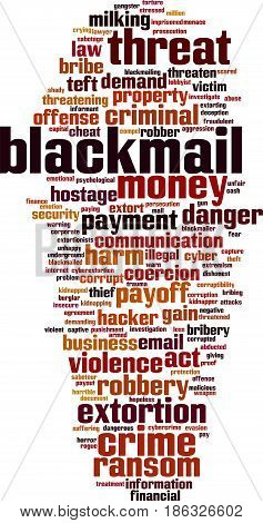 Blackmail word cloud concept. Vector illustration on white