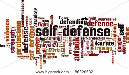 Self-defense word cloud concept. Vector illustration on white
