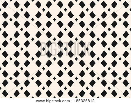 Vector monochrome mesh texture, geometric seamless pattern in black & beige colors. Illustration with simple geometrical shapes, staggered rhombuses. Stylish minimalist repeat design for decor, prints, textile, fabric, cloth