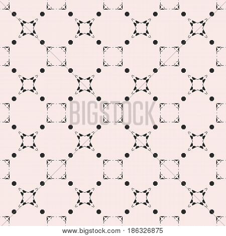 Black & white subtle background, square geometric seamless pattern with thin linear figures, stars, quadrates. Abstract endless monochrome texture. Minimalist design element for prints, decor, package, textile, fabric