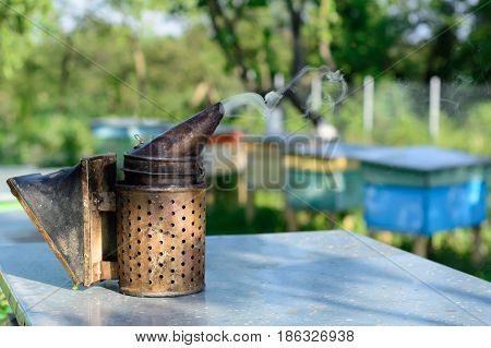Old bee smoker. Beekeeping tool. Apiary Beekeeping