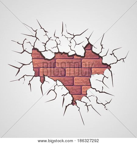 Gray grunge background with cracks and brick wall