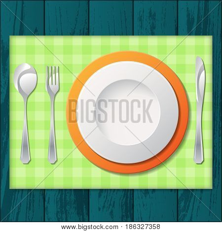Silhouette of knife, fork, spoon and plate with green tissue