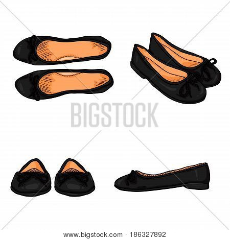 Vector Set Of Cartoon Women Shoes. Variations Views Of Ballet Flats