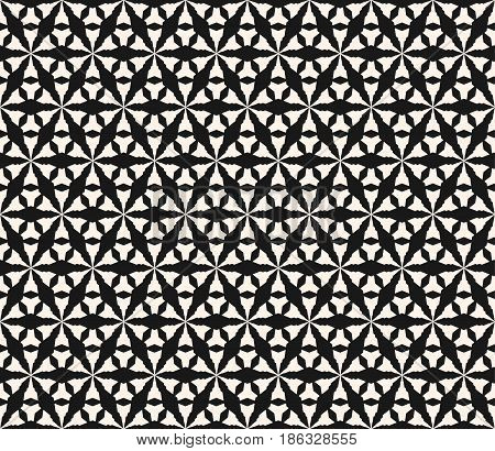 Vector monochrome seamless pattern, geometric texture, black & white simple abstract angled figures, repeat tiles, triangular grid. Modern symmetric background. Design for prints, decor, textile, fabric, cloth, digital, web